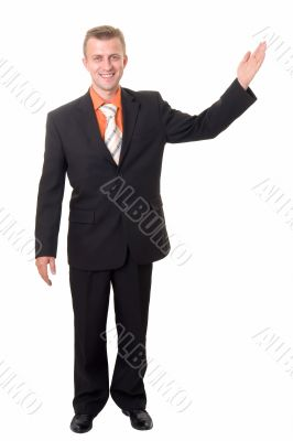 smiling businessman with indicating gesture
