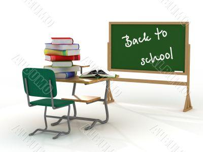 School interior. Back to school. 3D image.