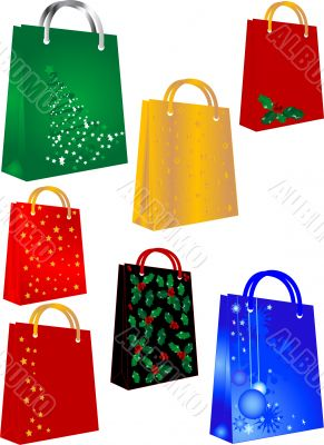 Shopping bags with christmas symbols