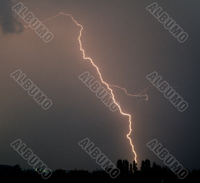 flash of lightning during a thunderstorm