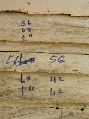 measurement written on an old wooden wall