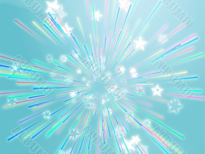 Bursting flying stars illustration