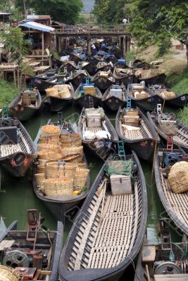 Boats in narrow canal