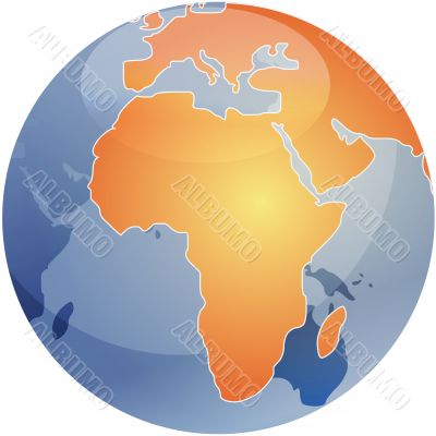 Map of Africa on globe  illustration