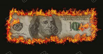 burning old hundred banknote