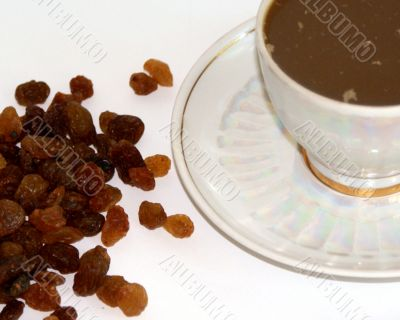 cap of coffee end handful raisins
