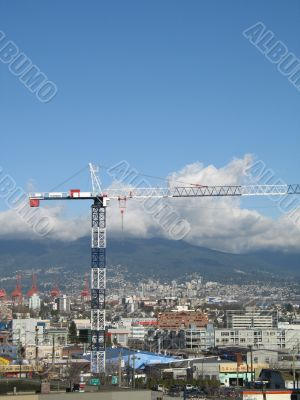 construction crane over the city