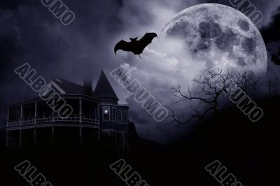 Haunted Halloween Illustration Mansion and Bat
