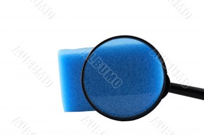 Magnifier and sponge for washing utensils