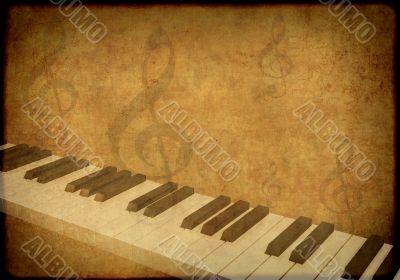 Grunge background with musical symbols