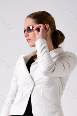 Sturdy girl with sunglasses
