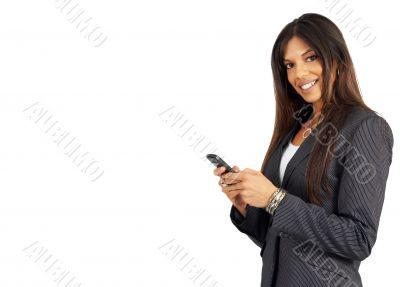 Beautiful brunette woman holding a cellphone