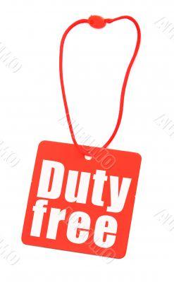 Duty free tag on white