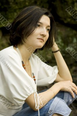 unhappy brunet woman