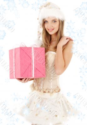 santa helper in corset and skirt with gift box
