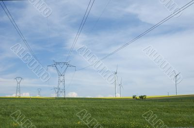 Electric pylons close to windturbines
