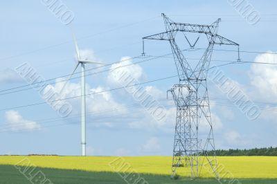 A electric pylon near windturbine