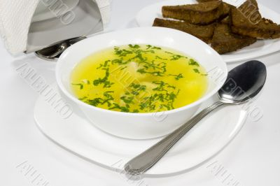 Soup with rye bread, isolated