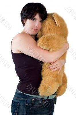 young woman cuddling with teddybear