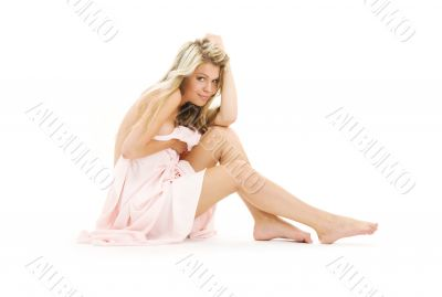 healthy naked blonde with pink cloth