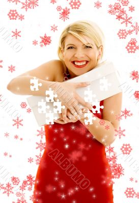 puzzle of thankful girl with snowflakes