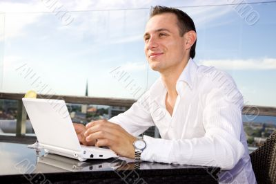 businessman on leisure with laptop