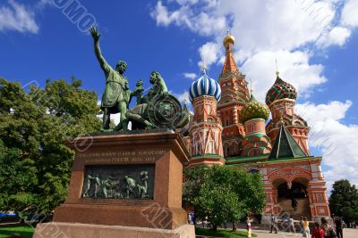 Saint Basil`s Cathedral and Monument to Minin and Pozharsky