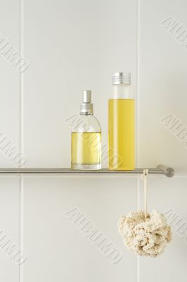 white bathroom with showering products