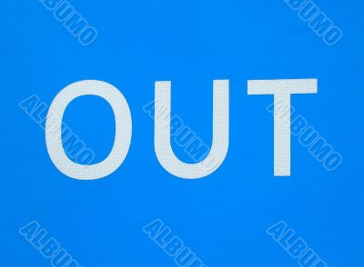 White Out sign on blue background