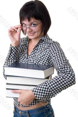 Charming student with thick books