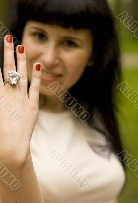 girl showing ring