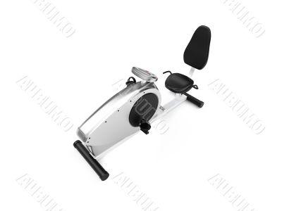horizontal exercise bicycle over white