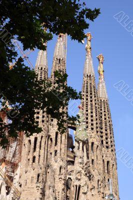Deatailed view of Sagrada Familia, great work of Antonio Gaudi