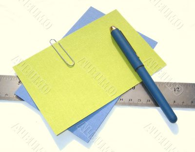 pen, papers, ruler