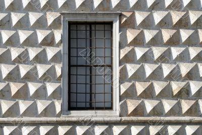 Ferrara, wall of a historic palace