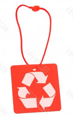 red tag with recycle symbol