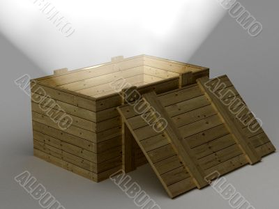 Open box with a ray of light. 3D image.