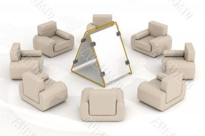 Eight armchairs around of a poster. 3D image.