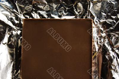 slice of chocolate on a foil