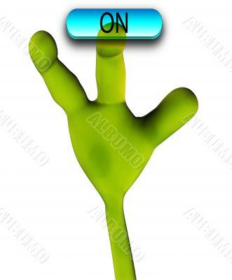 Alien Hand Pushing Button