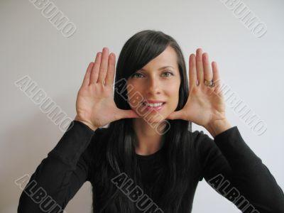 pretty girl hand gesturing