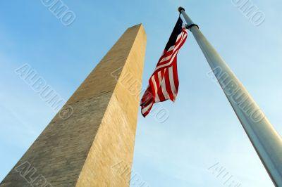 Washington Memorial and US flag