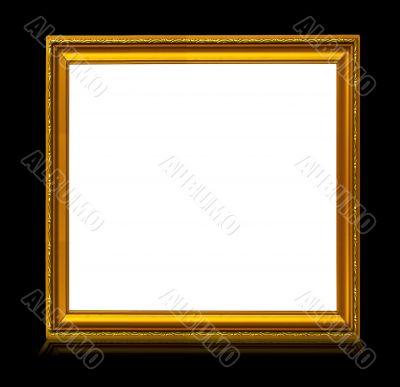 frame with reflection isolated on black