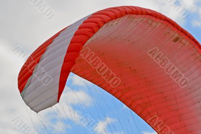 Red paraglider wing