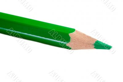 A green pencil expanded very sharp