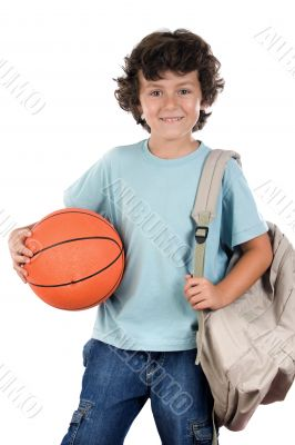 student boy blond with a basketball