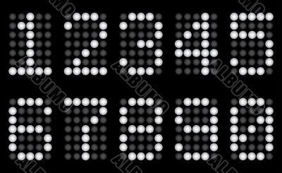 White digits for matrix display.