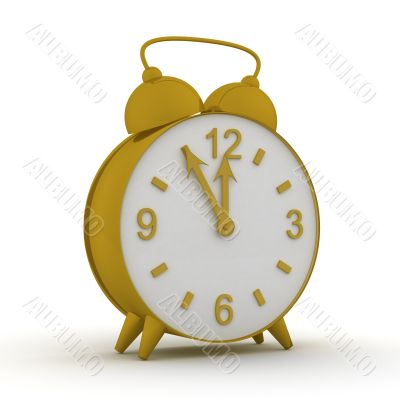 Old alarm clock. 3D image.