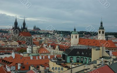 View of Prague in overcast day