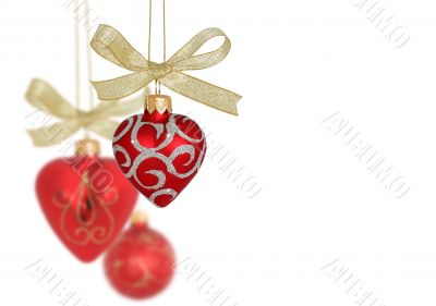 Christmas Decoration / Red hearts and ball